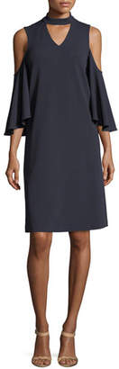 Nic+Zoe Textured Cutout Flutter-Sleeve Dress