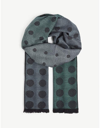 Paul Smith Polka-dot print wool and silk-blend scarf