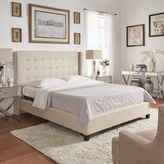 Weston Home Curtis I Upholstered Bed with Wingback Nailhead Headboard, Multiple Colors and Sizes