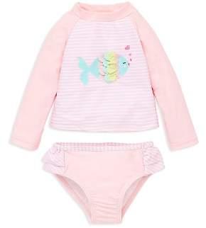 Little Me Girls' Fish Long Sleeve Tee & Swim Bottom Rash Guard Set - Baby