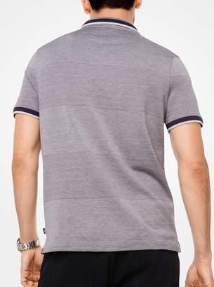 Michael Kors Striped Cotton-Blend Polo Shirt