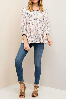 Entro Floral Tiered Blouse
