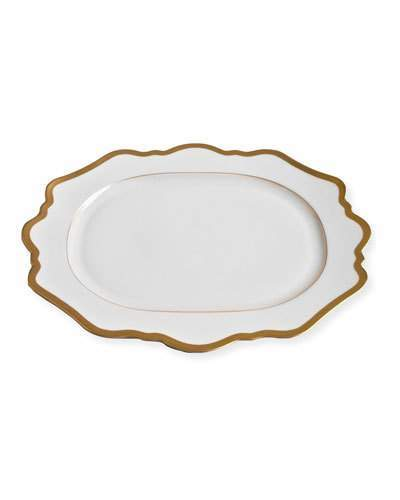 Anna Weatherley Anna Weatherley Antiqued White Oval Platter