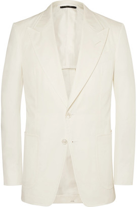 TOM FORD Cream Shelton Cotton-Twill Suit Jacket $4,335 thestylecure.com