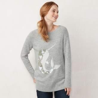 Lauren Conrad Women's Graphic Crewneck Tunic Sweater