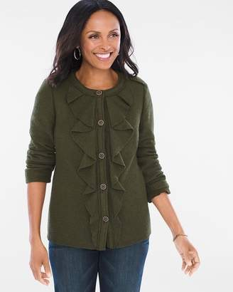 Chico's Boiled Wool Ruffle Jacket