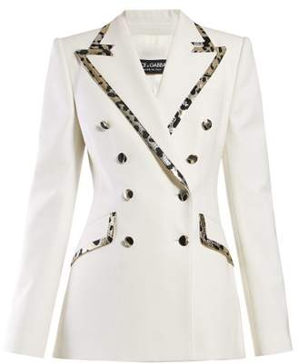 Dolce & Gabbana Leopard Print Trim Double Breasted Crepe Blazer - Womens - White