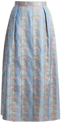 THE VAMPIRE'S WIFE Origami floral-embroidered silk-jacquard skirt