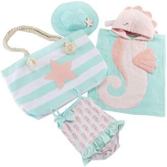 Baby Aspen Seahorse Hooded Towel, Swimsuit, Sun Hat & Tote Set
