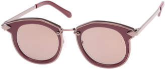 Karen Walker Bounty Two-Tone Round Sunglasses, Red