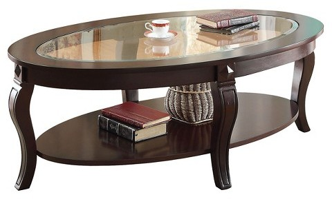 AcmeACME Riley Coffee Table Walnut and Glass Top