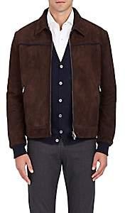 Fioroni Men's Embellished Suede Jacket-Brown