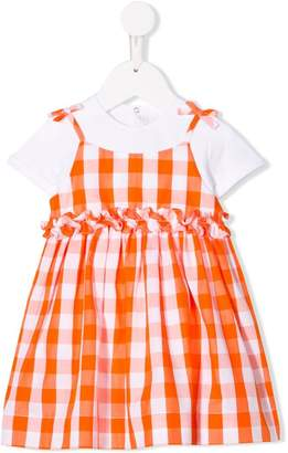 Il Gufo layered vichy dress