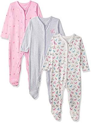 Mothercare Baby Girls' Craft 3 Pack Sleepsuit(Size: 68)