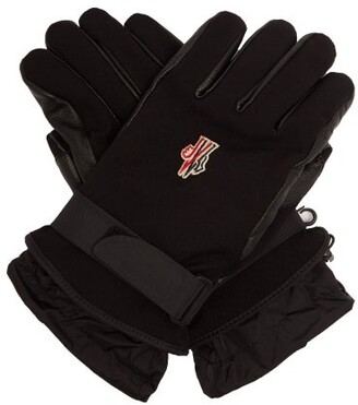 Moncler Twill And Leather Technical Ski Gloves - Mens - Black