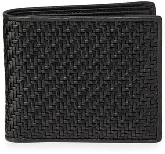 Ermenegildo Zegna Men's Pelle Tessuta Woven Leather Bi-Fold Wallet with Card Case