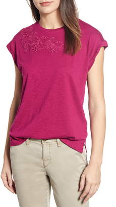 Caslon Embroidered Cap Sleeve Tee