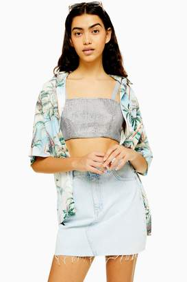 Topshop Womens Crystal Strappy Bralet - Silver