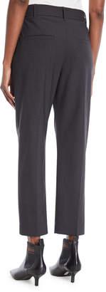 Brunello Cucinelli Lightweight Wool Straight-Leg Zip Pants with Monili Tie Belt