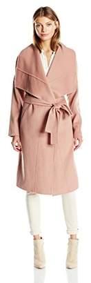 Badgley Mischka Women's Lex Double Face Wool Wrap Coat with Draped Collar