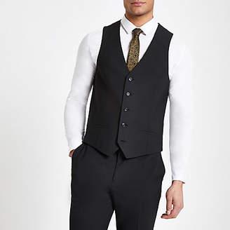River Island Black suit vest