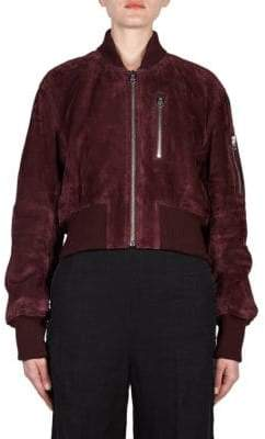 Acne Studios Cropped Suede Bomber Jacket