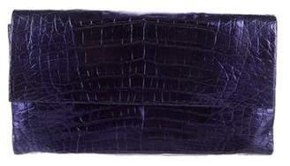 Nancy Gonzalez Metallic Crocodile Flap Wallet