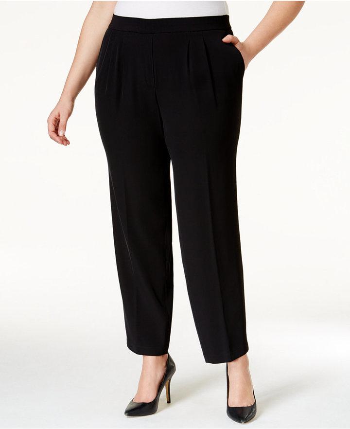 Calvin Klein Plus Size Pull-On Straight-Leg Pants