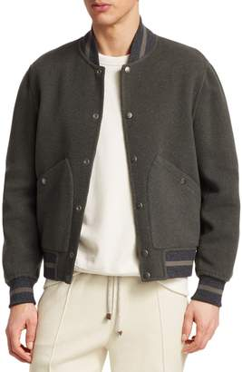 Brunello Cucinelli Reversible Wool Varsity Bomber Jacket