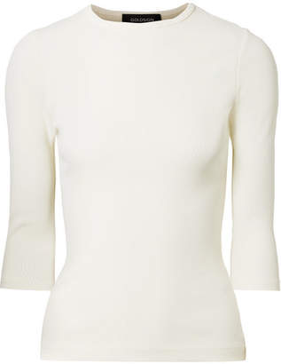 Gold Sign The Rib Stretch Cotton-blend Top - White