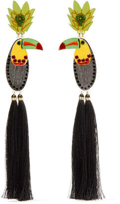 Mercedes Salazar Bird Tasseled Gold-plated, Resin And Crystal Clip Earrings - Black