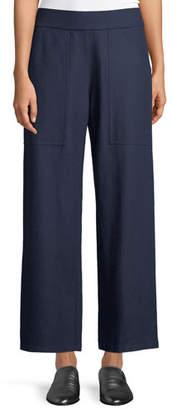 Eileen Fisher Boiled Wool Wide-Leg Ankle Pants, Petite