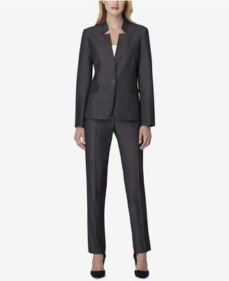 Tahari ASL Petite Star-Neck One-Button Pantsuit