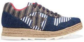 Stella McCartney Macy Denim Striped Canvas And Jute Sneakers