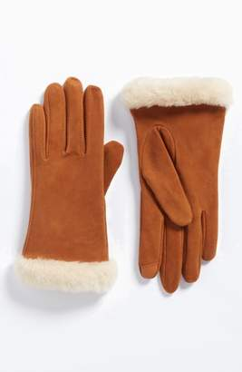 UGG Classic Suede Tech Gloves with Genuine Shearling Trim