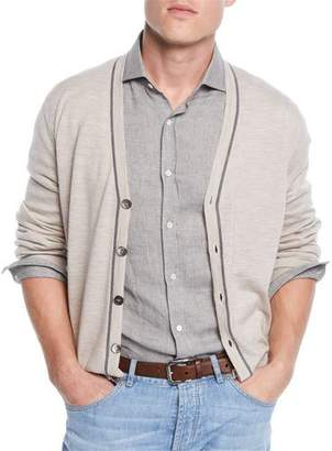 Brunello Cucinelli Men's Button Stripe Cardigan