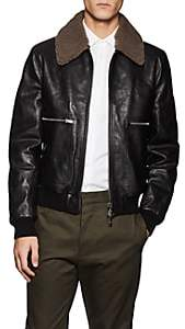 Valentino MEN'S SHEARLING-TRIMMED LEATHER BOMBER JACKET - BLACK SIZE 50 EU