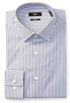 BOSS Marley Long Sleeve Vertical Stripe Shape Fit Dress Shirt