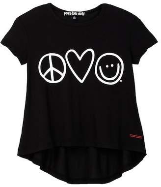 Peace Love World Graphic Print Hi-Lo Tee (Little Girls)