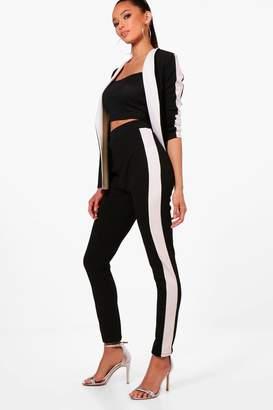boohoo Emily Contrast Side Stripe Skinny Trouser