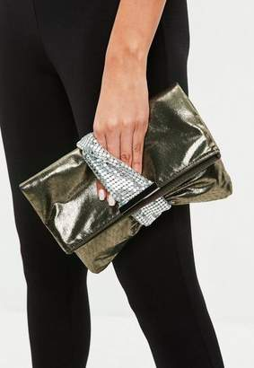 Missguided Khaki Metallic Twist Clutch Bag
