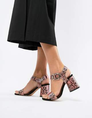 Asos DESIGN Humming Bird Mid Block Heeled Sandals in multi snake