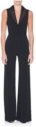 Brandon Maxwell Sleeveless Shawl Collar Jumpsuit