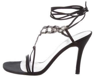 Stuart Weitzman Embellished Lace-Up Sandals