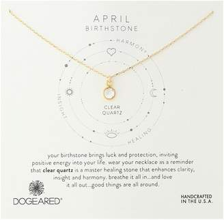 Dogeared April-Clear Crystal Bezeled Birthstone Gold Chain Necklace