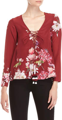 Rococo Sand Floral Lace-Up V-Neck Blouse