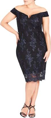 City Chic Lace Heart Off the Shoulder Sheath Dress