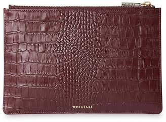 Whistles Shiny Leather Croc Design Small Clutch