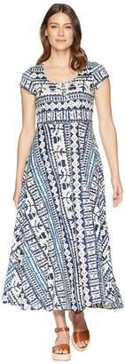 Chaps Short Sleeve Batik Cotton Jersey Maxi Dress Women's Dress