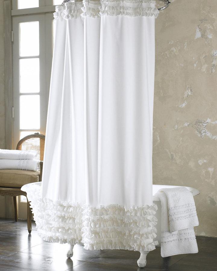 Ann Gish White Ruffled Shower Curtain